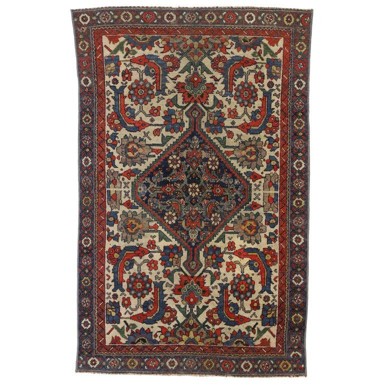 Rustic Style Distressed Antique Persian Malayer Rug For Sale