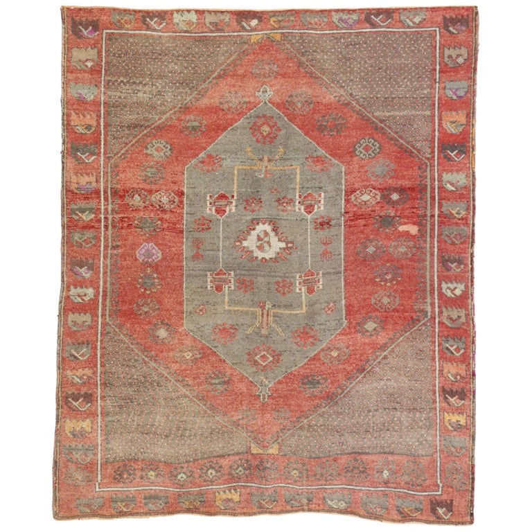 Rustic Style Distressed Vintage Turkish Oushak Rug For