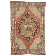 Rustic Style Distressed Vintage Turkish Oushak Rug, Kitchen, Foyer or Entry Rug