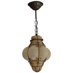 Rustic Style Mouthblown Amber Glass into Metal Frame Venetian Pendant Light 1950
