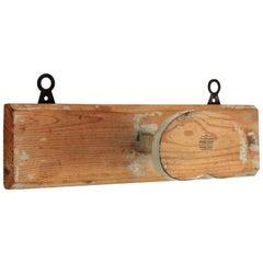 Rustic Style Spanish Costa Brava Patinated Wood Wall Coat Hanger