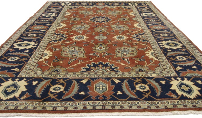 75842, Rustic style vintage Persian Mahal area rug. Stately with a bit of whimsical decadence this hand knotted wool vintage Persian Mahal area rug is the stylish answer to your upscale formal interior. Rendered in somber rust and ink blue tones
