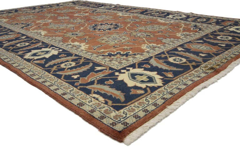Hand-Knotted Rustic Style Vintage Persian Mahal Area Rug For Sale