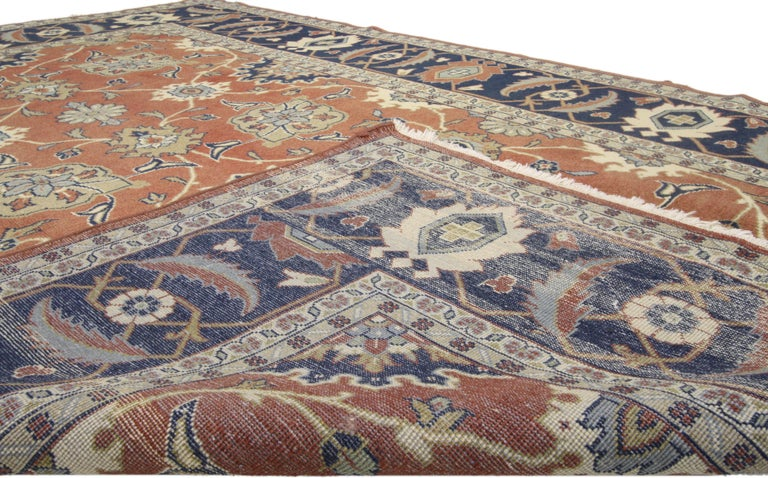 Rustic Style Vintage Persian Mahal Area Rug In Good Condition For Sale In Dallas, TX