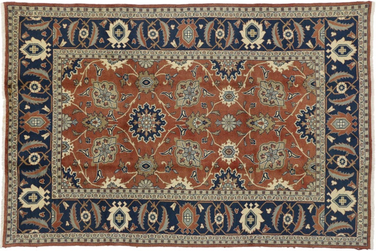 20th Century Rustic Style Vintage Persian Mahal Area Rug For Sale
