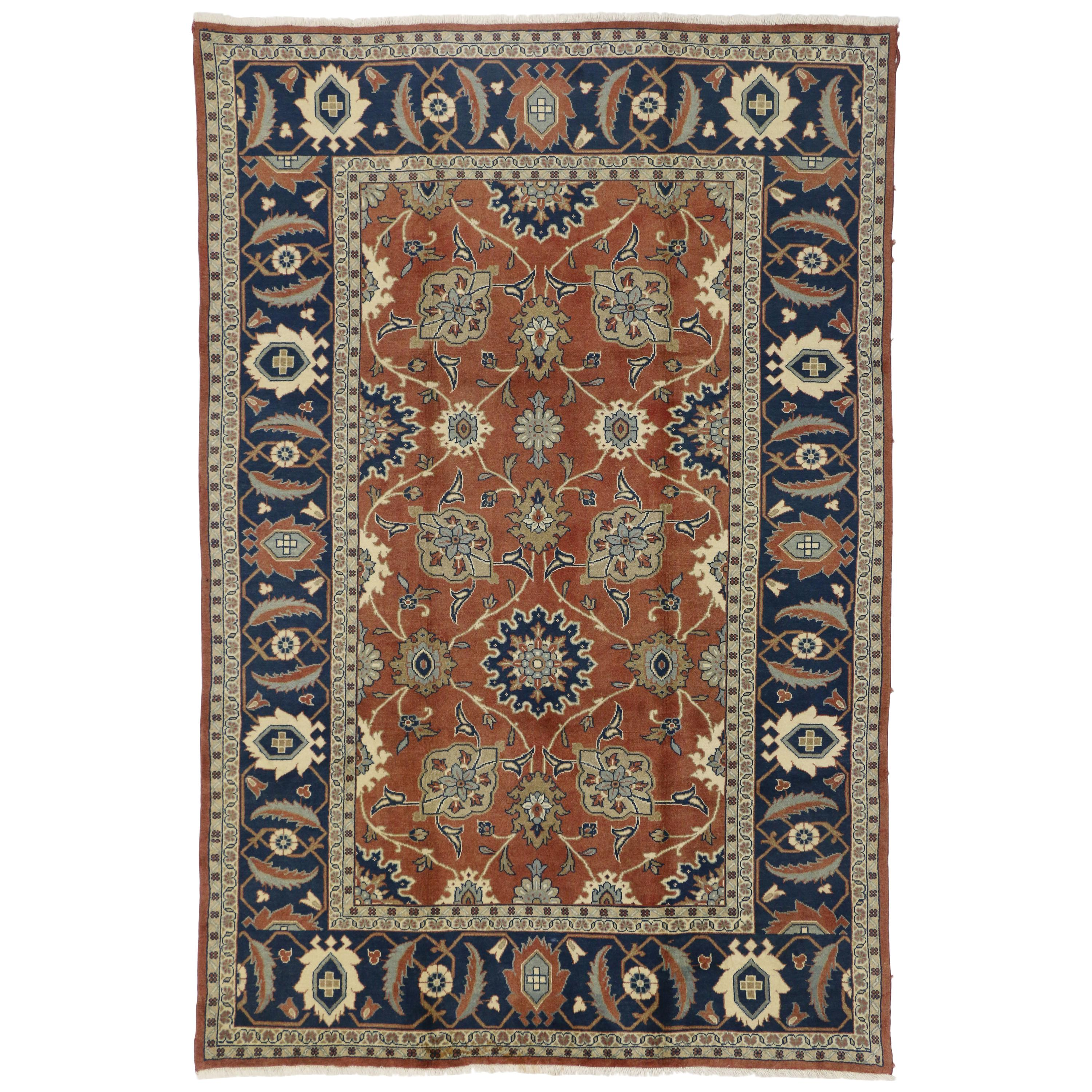 Rustic Style Vintage Persian Mahal Area Rug