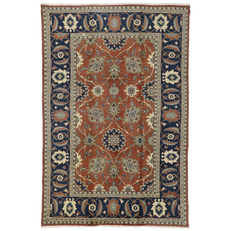 Rustic Style Vintage Persian Mahal Area Rug For Sale