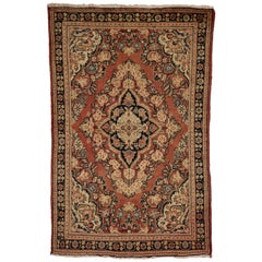 Vintage Persian Mahal Rug with Modern Rustic English Country Cottage Style