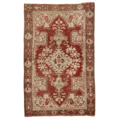 Rustic Style Vintage Turkish Oushak Rug for Kitchen, Foyer or Entry Rug