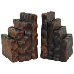 Rustic Style Wood Bookends, Pair