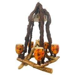 Rustic Style Wood Decorated Chandelier with Orange Glass Globe Hurricane Shades