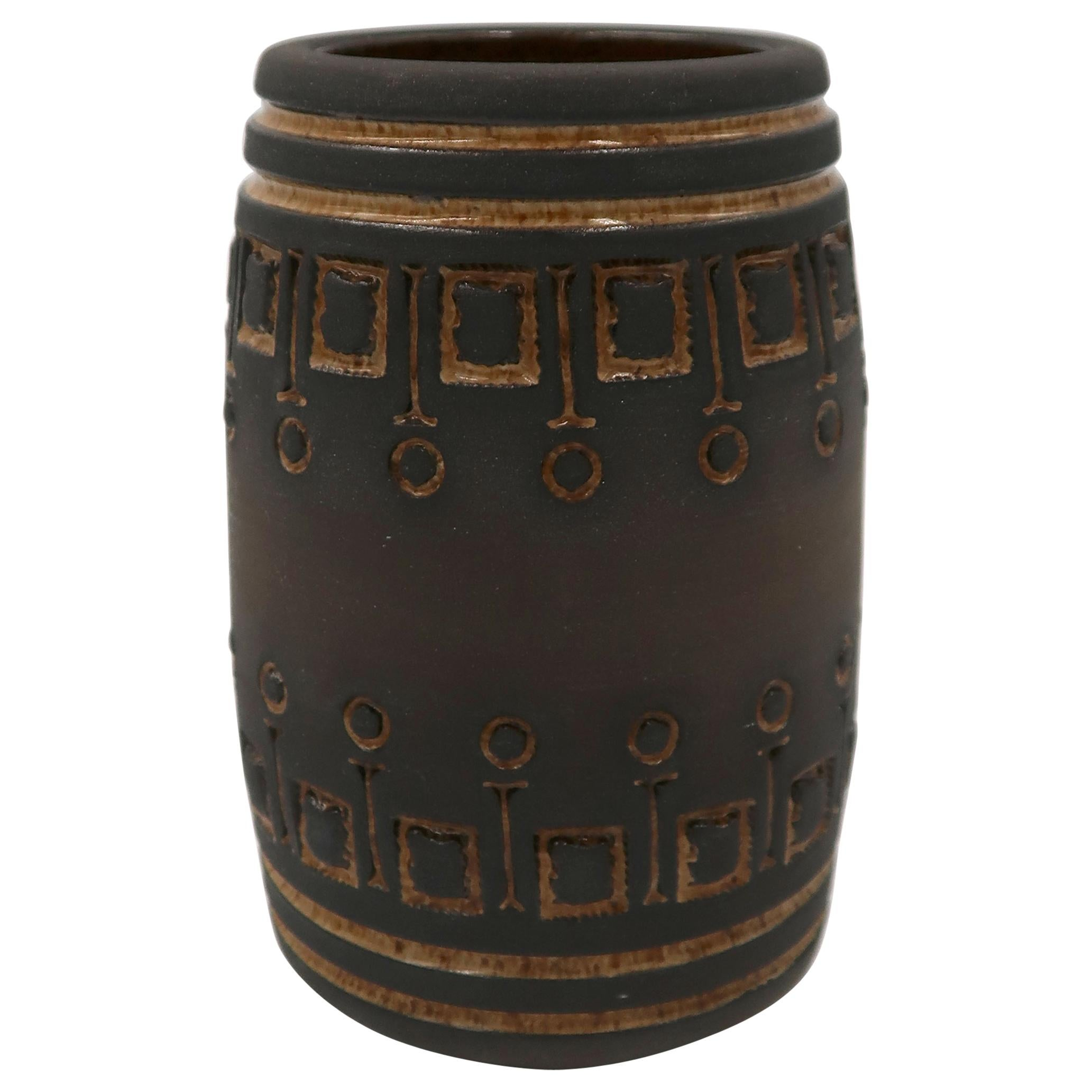 Rustic Swedish Modern Ulla Winblad for Alingsås Brown Decorated Vase, 1960s