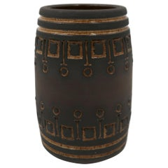 Rustic Swedish Modern Ulla Winblad for Alingsås Brown Decorated Vase, 1960s