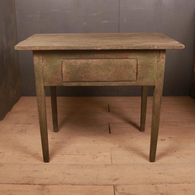 Early 19th century Rustic Swedish side table awaiting handle on the drawer, 1820