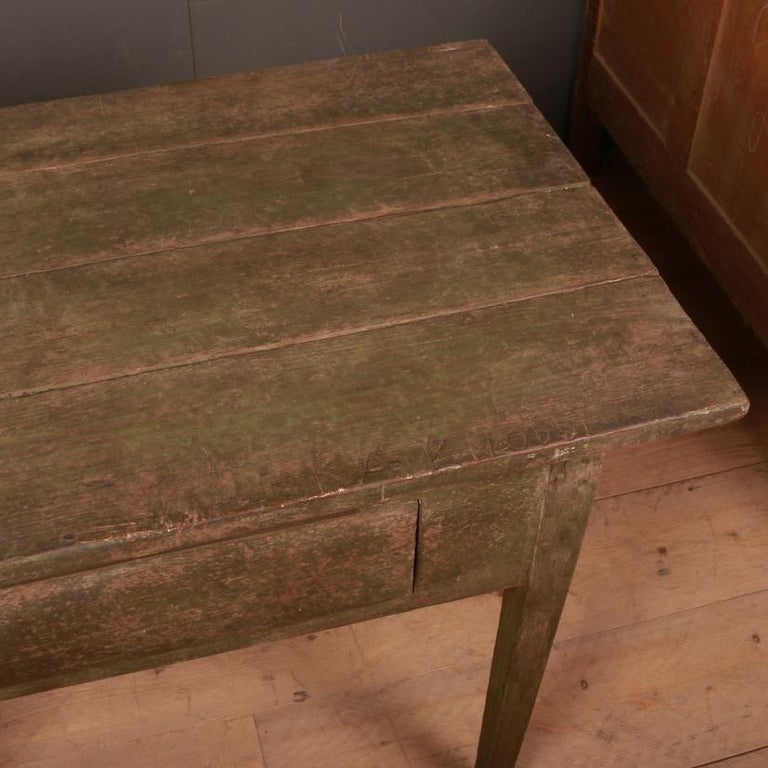 Hand-Painted Rustic Swedish Side Table For Sale