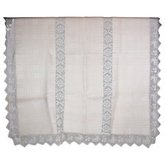 """Rustic Tablecloth with Rare """"Rabbit"""" Pattern from the 1920s"""