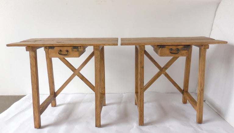 Rustic Tables with Drawer For Sale 4