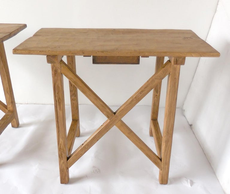Rustic Tables with Drawer In Good Condition For Sale In Los Angeles, CA