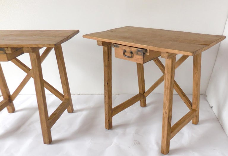 Rustic Tables with Drawer For Sale 1