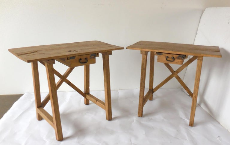 Rustic Tables with Drawer For Sale 3