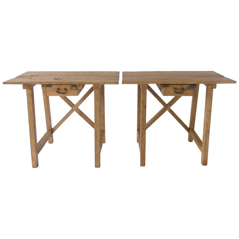 Rustic Tables with Drawer For Sale