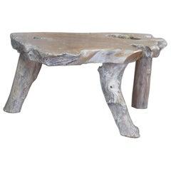 Rustic Teak Wood Live Edge Slab Coffee Table Country Farmhouse Natural Slice