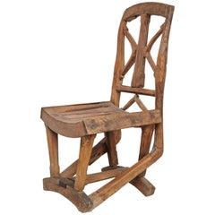 Rustic Traditional Handmade Solid Wood Chair, circa 1930