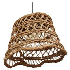 Rustic Traditional Rattan Ceiling Lamp, circa 1980