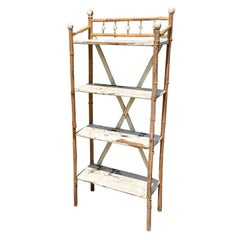 Rustic Traditional White Painted Stick and Ball Bamboo Shelf or Side Table