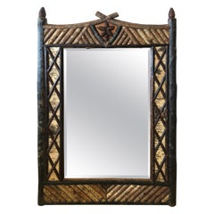 Rustic Tramp Art Faux Bois Mirror with Birch Paper and Twigs