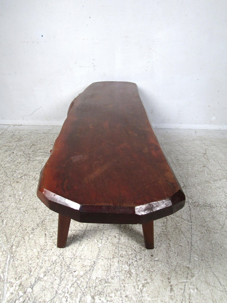 Rustic Tree-Slab Coffee Table In Fair Condition For Sale In Brooklyn, NY