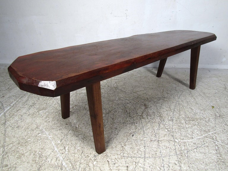 20th Century Rustic Tree-Slab Coffee Table For Sale
