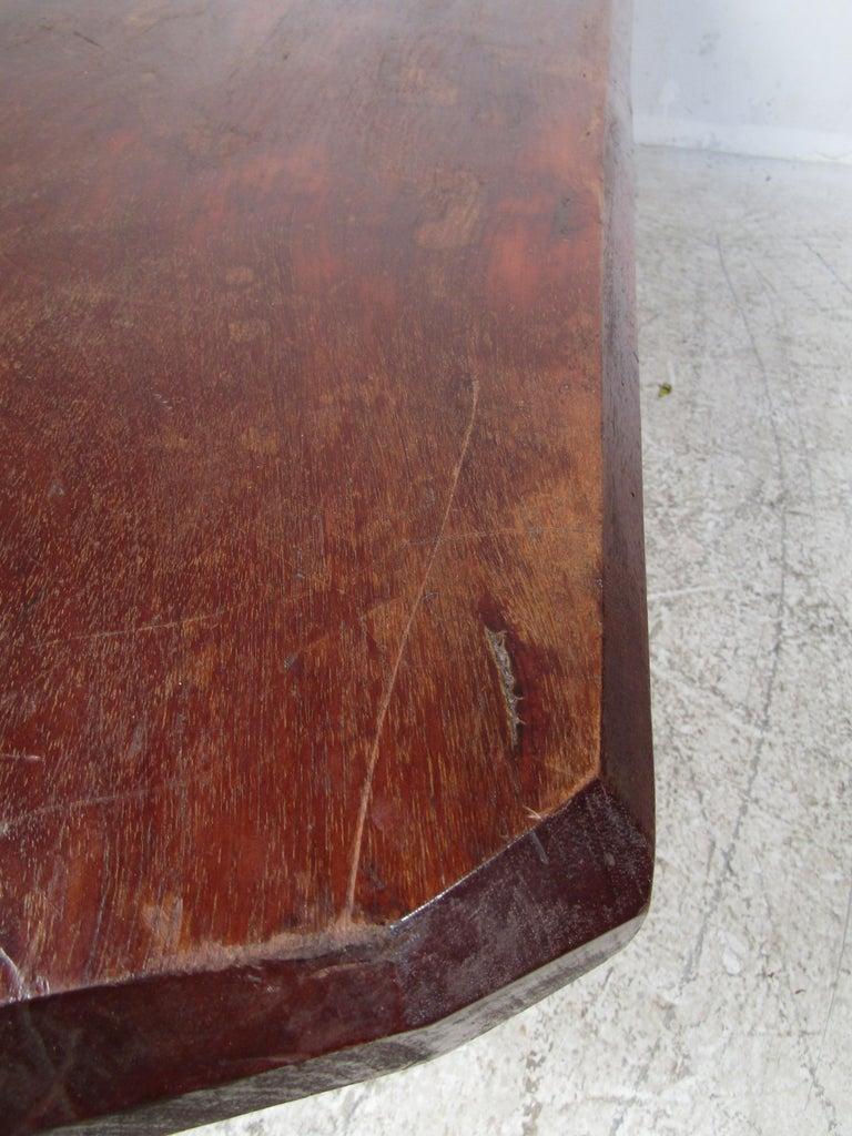 Wood Rustic Tree-Slab Coffee Table For Sale