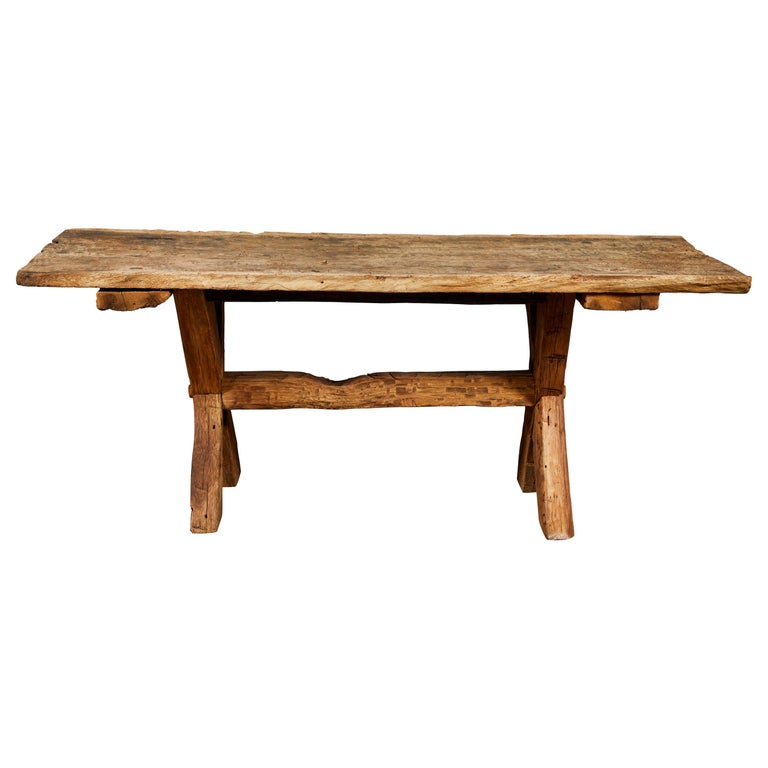 Rustic Sofa Tables For Sale: Rustic Trestle Base Console Table For Sale At 1stdibs