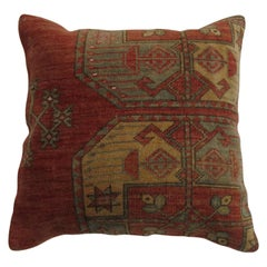 Rustic Tribal Afghan Antique Wool Square Rug Pillow