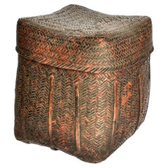 Rustic Tribal Storage Basket with Lid from the Tamang of Nepal, Mid-20th Century