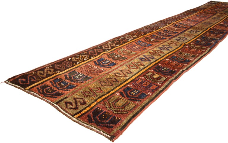Hand-Knotted Rustic Tribal Style Vintage Turkish Oushak Runner, Narrow Hallway Runner For Sale