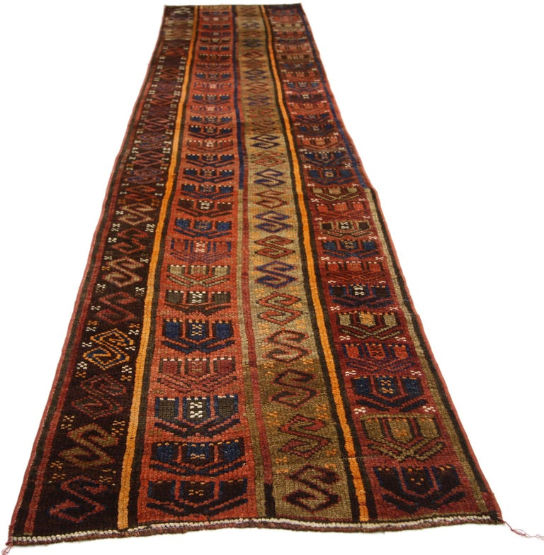 Rustic Tribal Style Vintage Turkish Oushak Runner, Narrow Hallway Runner In Good Condition For Sale In Dallas, TX