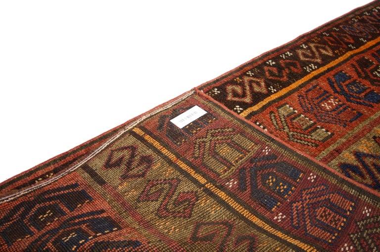 20th Century Rustic Tribal Style Vintage Turkish Oushak Runner, Narrow Hallway Runner For Sale