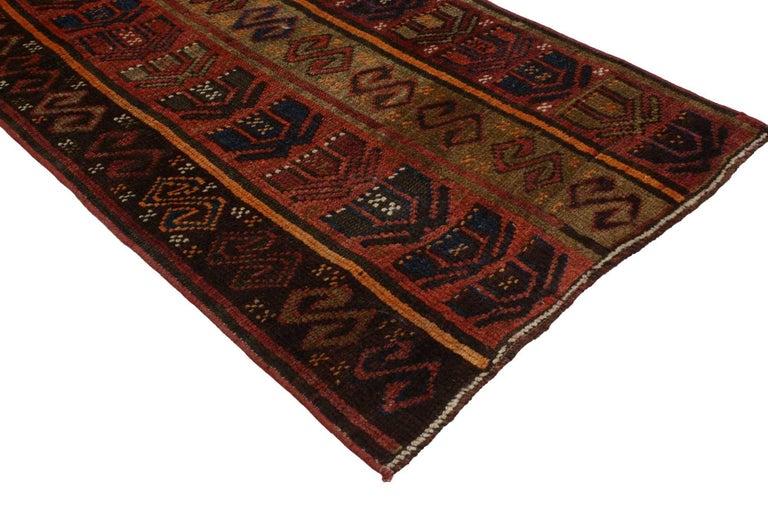 Rustic Tribal Style Vintage Turkish Oushak Runner, Narrow Hallway Runner For Sale 1