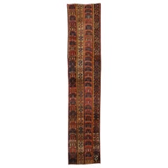Rustic Tribal Style Vintage Turkish Oushak Runner, Narrow Hallway Runner