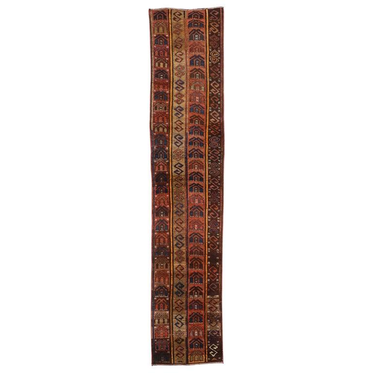 Rustic Tribal Style Vintage Turkish Oushak Runner, Narrow Hallway Runner For Sale