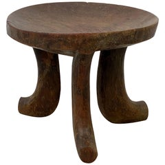 Rustic Tribal Wooden Three-Leg Round Stool or Table