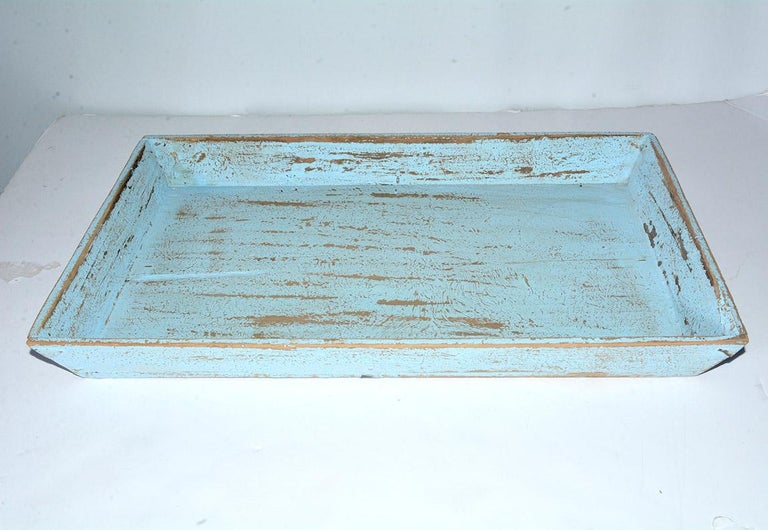 Hand-Painted Rustic Turquoise Painted Provincial Style Chinese Tea Tray For Sale