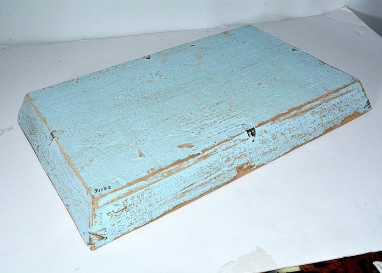 Rustic Turquoise Painted Provincial Style Chinese Tea Tray In Good Condition For Sale In Great Barrington, MA