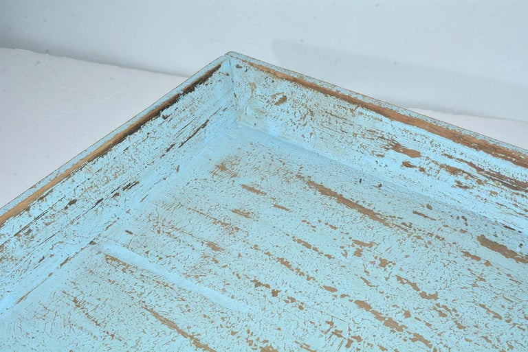 20th Century Rustic Turquoise Painted Provincial Style Chinese Tea Tray For Sale