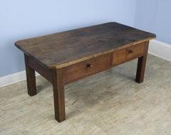 Rustic Two Drawer Oak Coffee Table