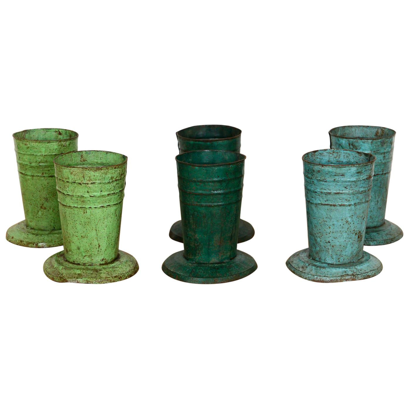 Rustic Vases or Pots Made from Recycled Metal, 20th Century