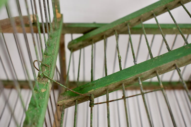 Rustic Vintage French Handmade Green Wood & Metal Double Finch Bird Trap For Sale 5