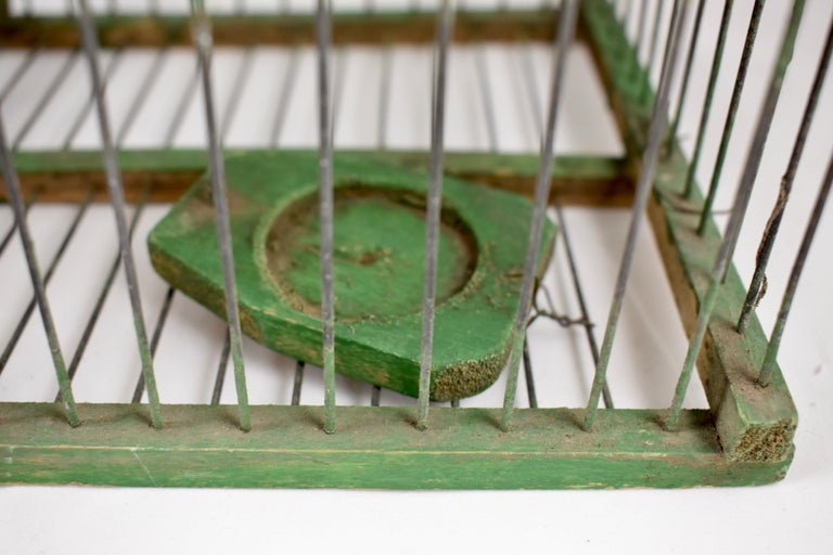 Rustic Vintage French Handmade Green Wood & Metal Double Finch Bird Trap For Sale 6